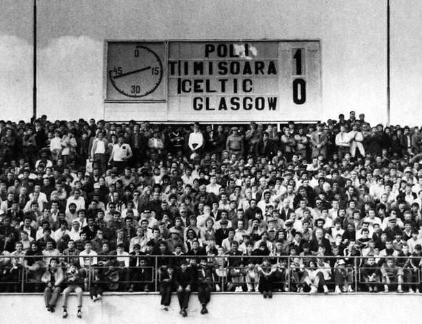 Returul Poli Timisoara - Celtic Glasgow 1980. Gol inscris in finalul meciului de Dan Paltinisanu.